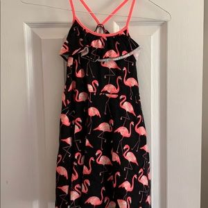 The children's place black dress with flamingos